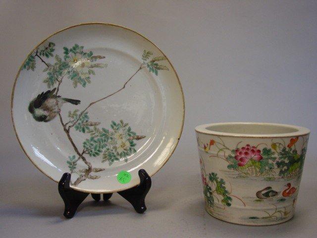 37: One Plate Famille Rose & Brush Pot