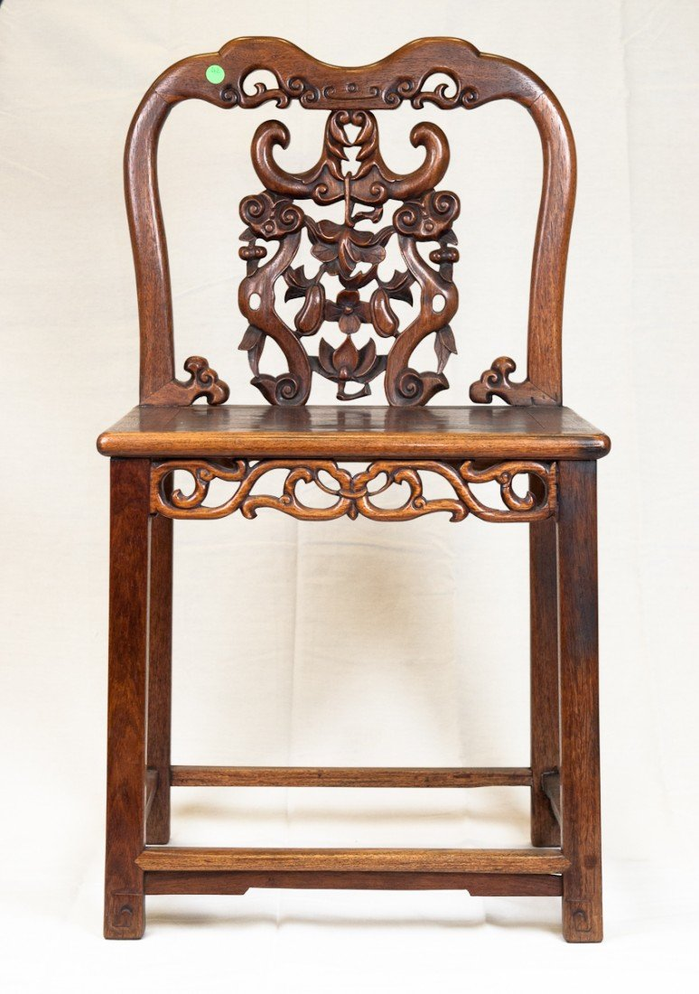 42: 19th Century HuangHuaLi Chair Beautiful Carving