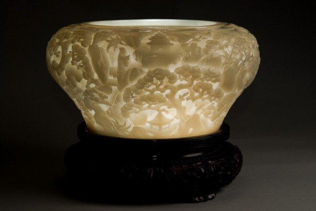 43: Carved White Nephrite Jade Bowl