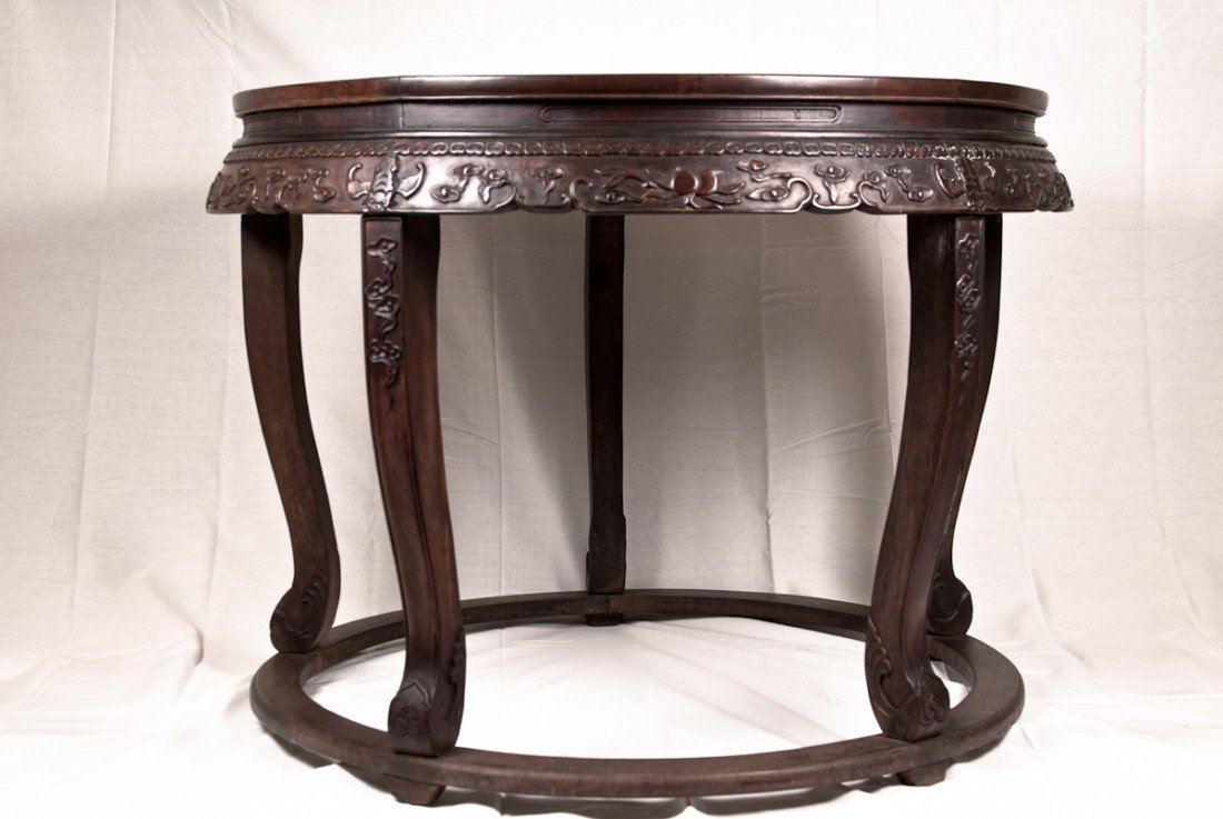 47: Unusual Carved Zitan Round Table with Five Stools
