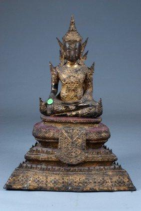 Antique Bronze Buddha & Rosewood Base