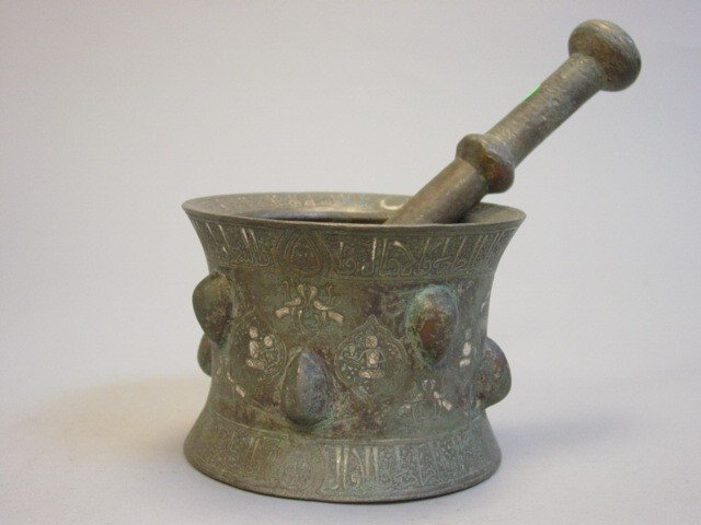 62: Islamic Silver Inlaid Bronze Mortar & Thistle