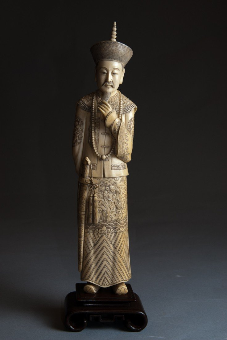 80: Ivory Carved Figure of Dignitary