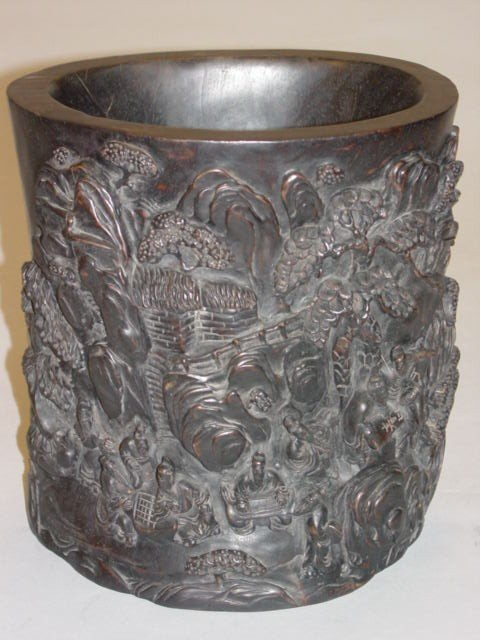 60A: Large Chinese Carved Zitan Brush Pot