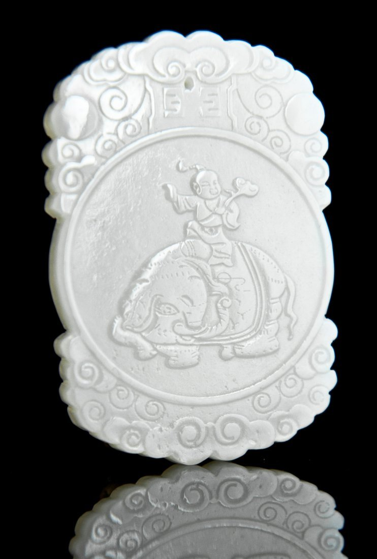 3: White Jade Pendant of a Boy on Elephant with GIA