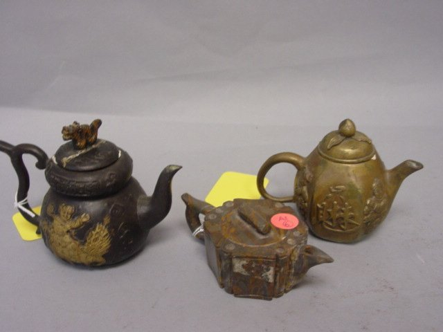 6: Three Teapots (Two Bronze-One Agate)