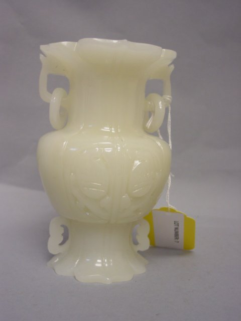 7: White Jade like Fluted Vase with rings and open work