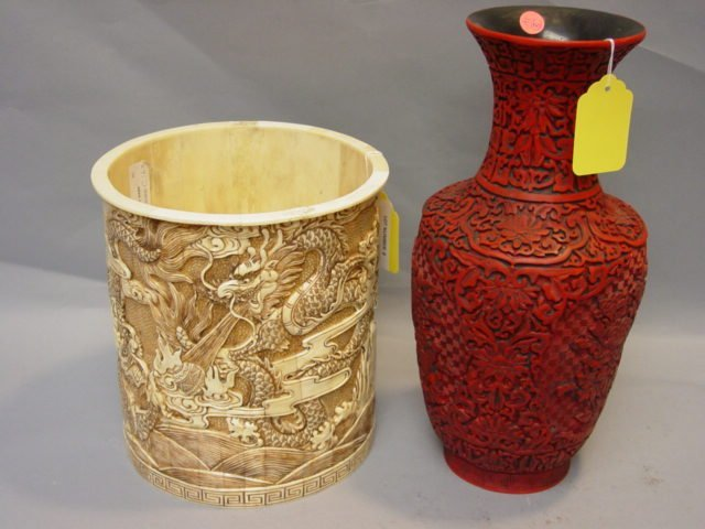 8: Bone Brush Pot + A Pair of Cinnabar Vases
