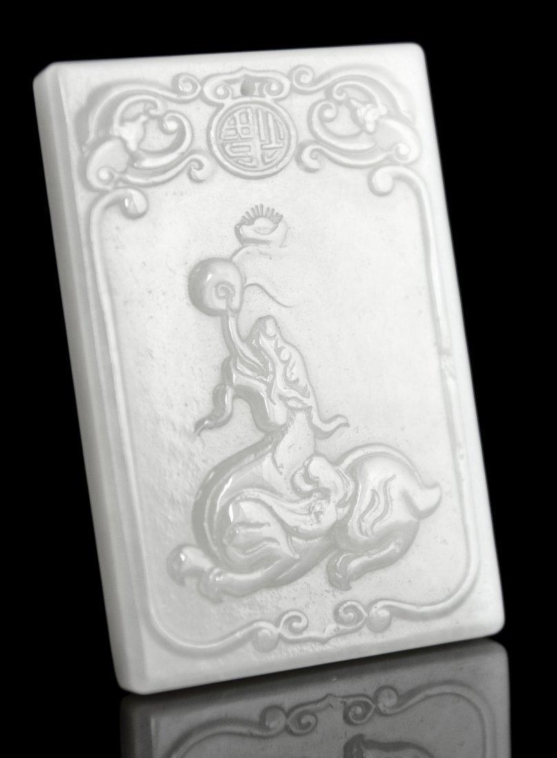 11: Jade Pendant With GIA Winged Mythological Creature