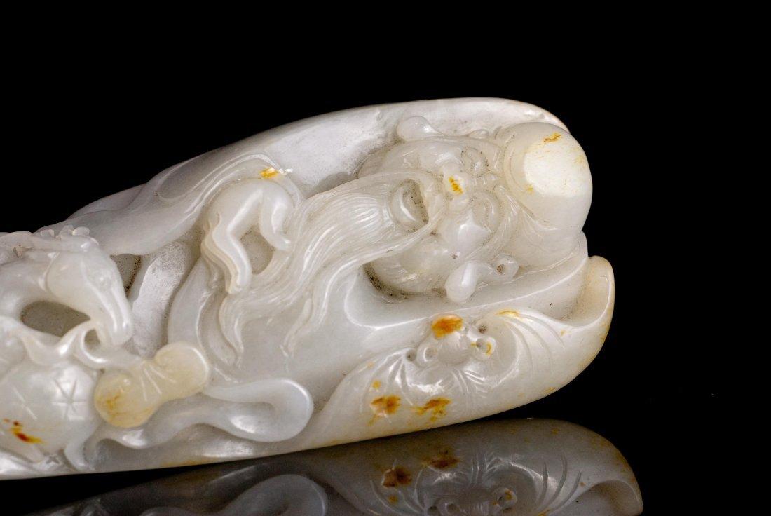 14: Carved White Jade Pebble of Lohan Bat Rui & Deer