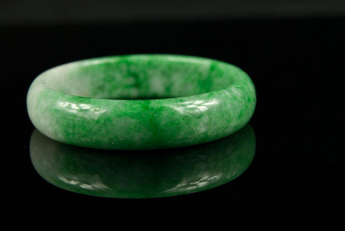 16: Natural Green & White Jadeite Bangle with GIA