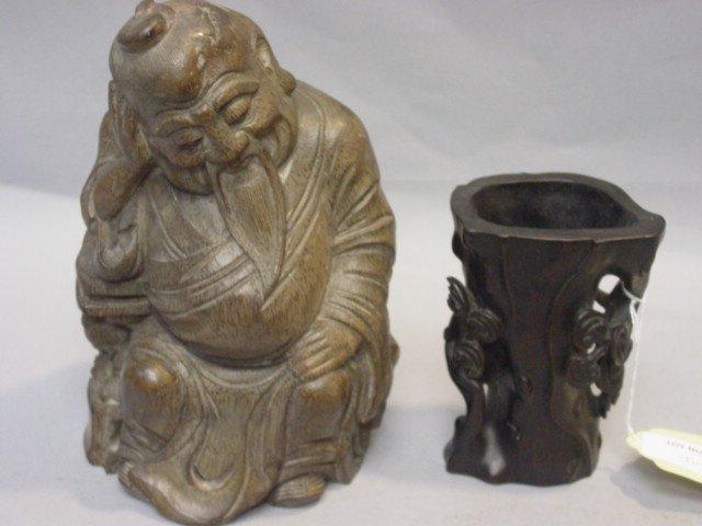 18: One Hardwood Brush Pot and One Bamboo Happy God