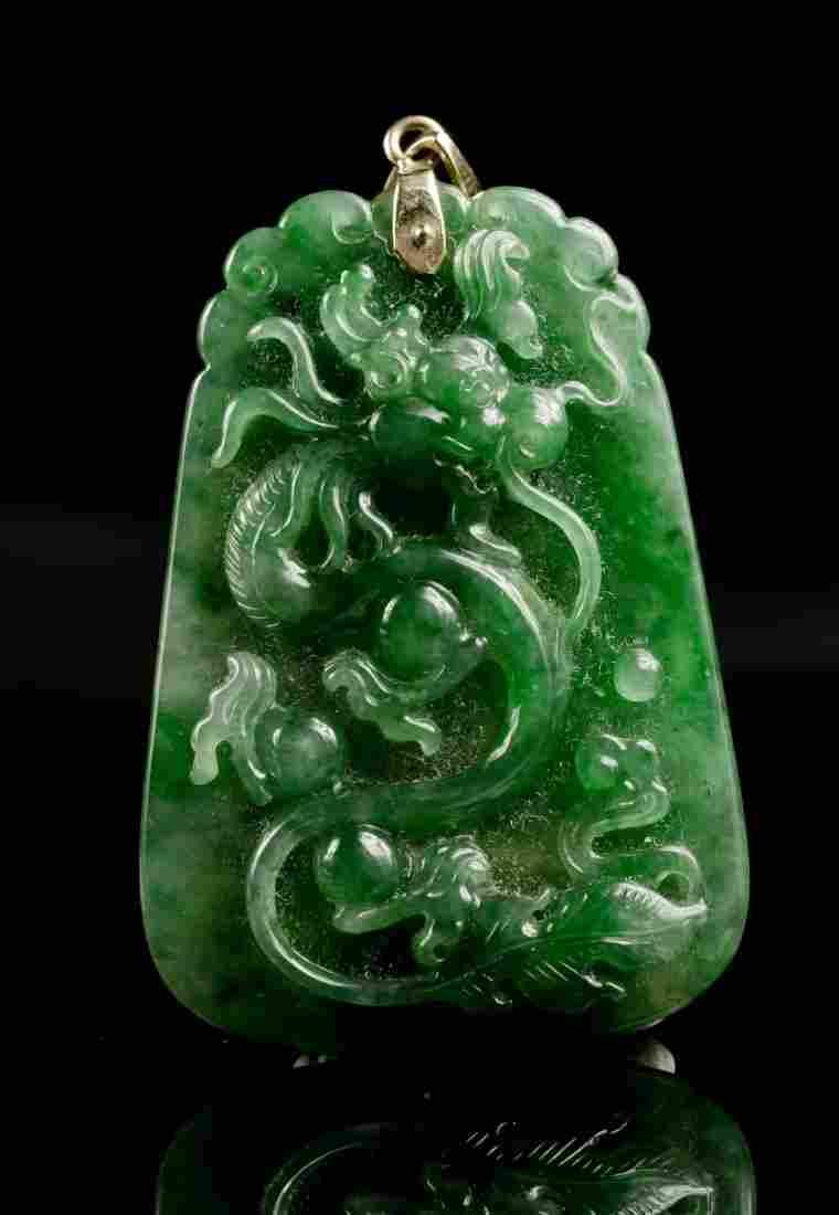 278: Grade A Jadeite Dragon Pendant Natural Color & GIA