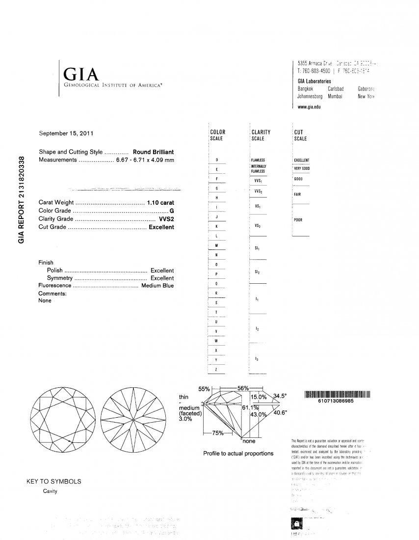 10A: 1.1 Carat Diamond Color G,VVS2, With GIA Certifica