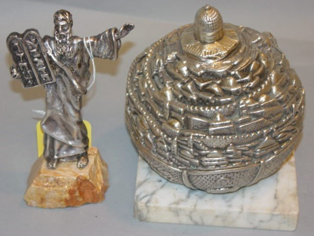 13A: Two Sterling Silver Judaica, Moses & The Temple
