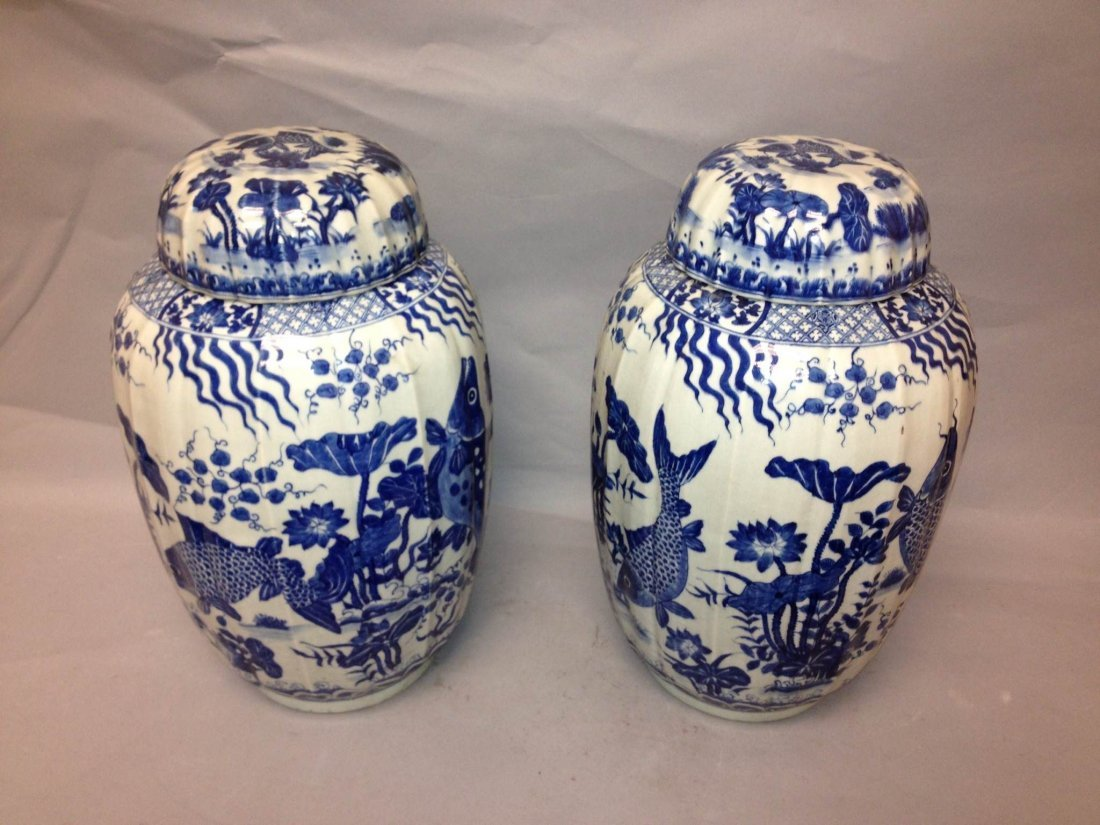 18A: Pair of Chinese Blue & White Porcelain Lidded Jars