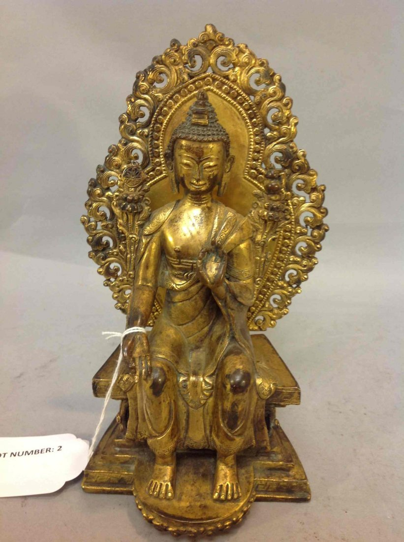 2: Antique Chinese Guilt Bronze Buddha