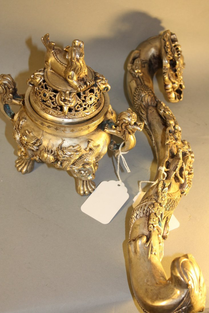 198: Bronze Rui Scepter and Lidded Bronze Censor - 6