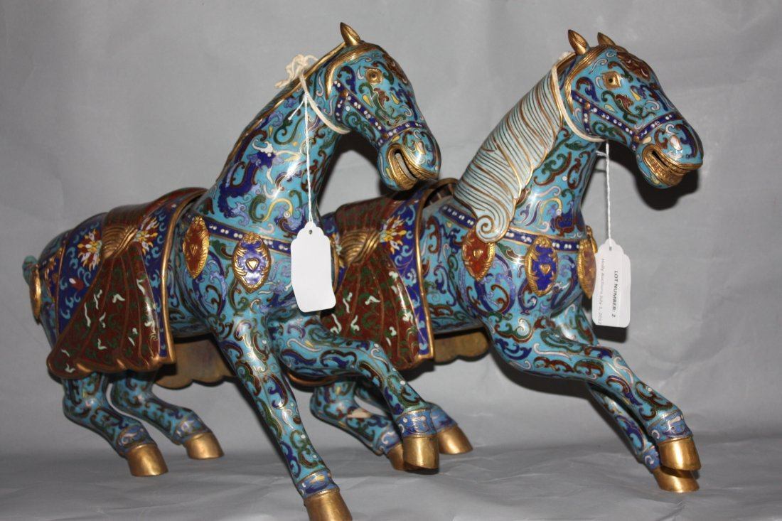 2: Pair of Chinese Cloisonne Horses