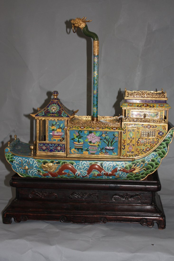 3: Chinese Cloisonne Boat with Stand