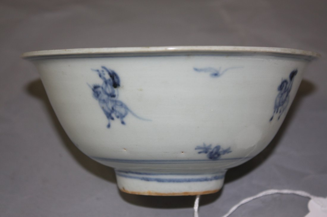 16: Blue & White Bowl with Horse Rider on the outside