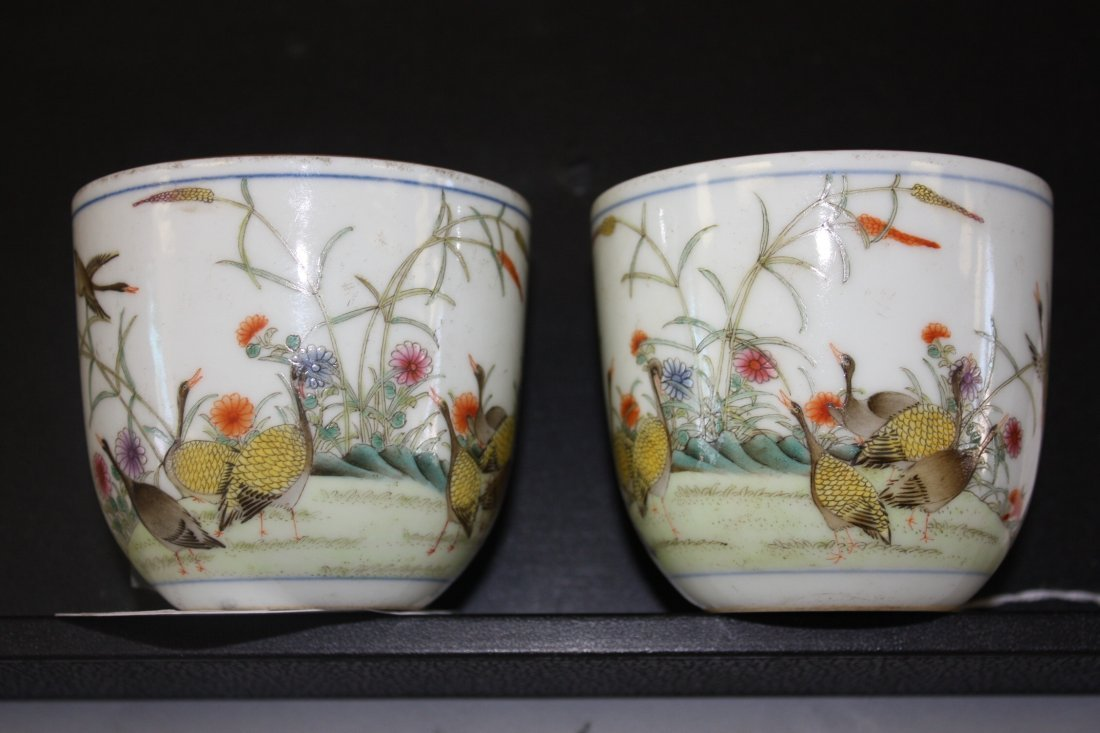 19: Pair of Famille Rose Wine Cups with Birds & Flower