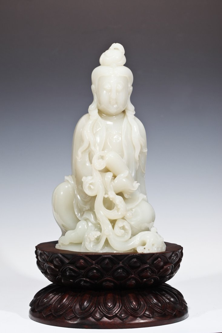 172: Carved White Jade Seated Quan Yin