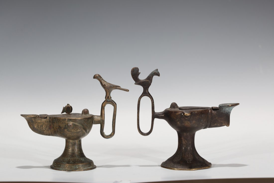 9: Two Islamic Bronze Oil Lamps