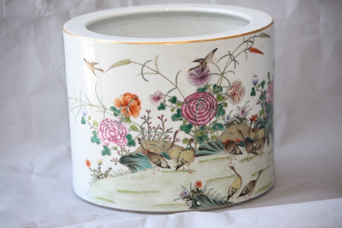 5: Chinese Famille Rose Porcelain Brush Pot Republic