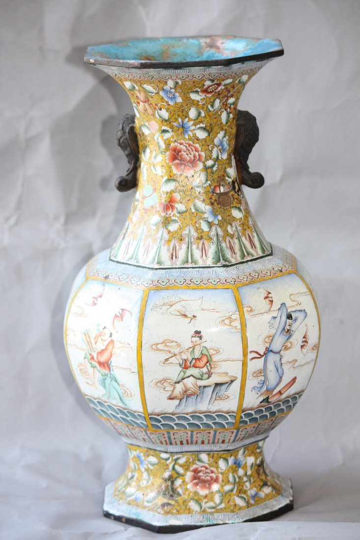 9: Chinese Bronze Enamel Vase (As Is)