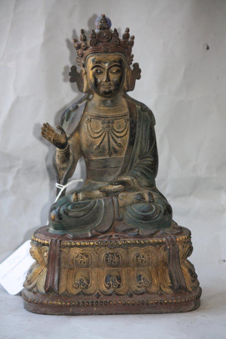 12: Seated Polychrome  Bronze Buddha
