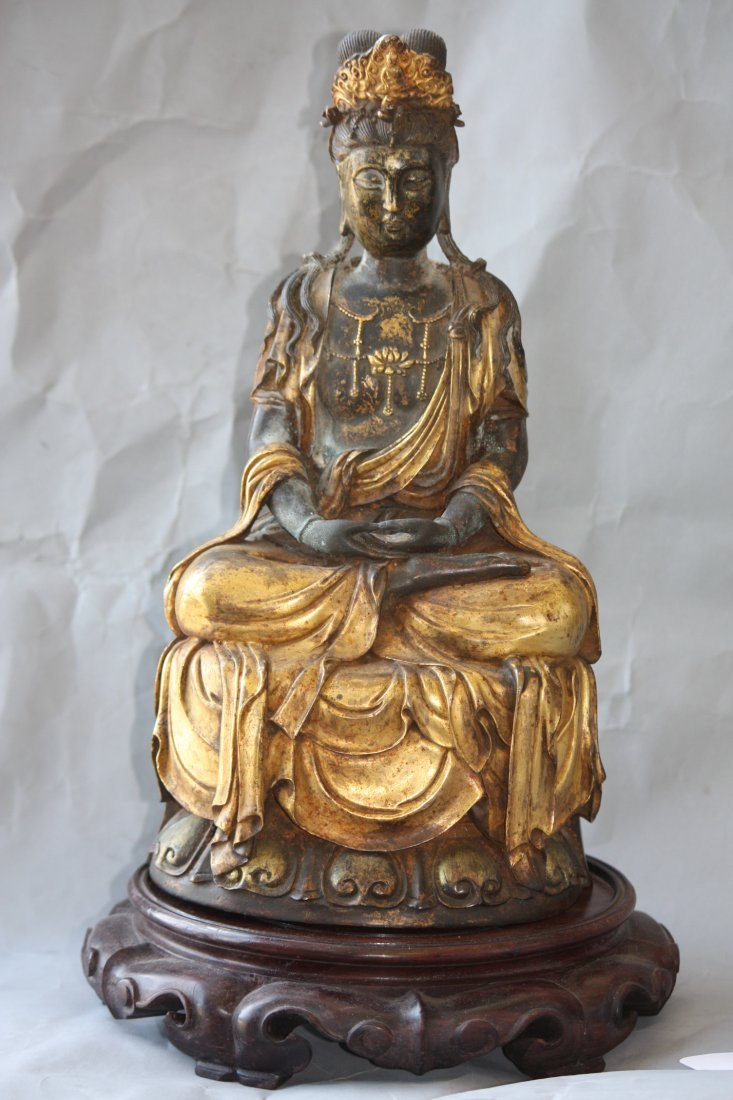 13: Seated Bronze Quan Yin and Base