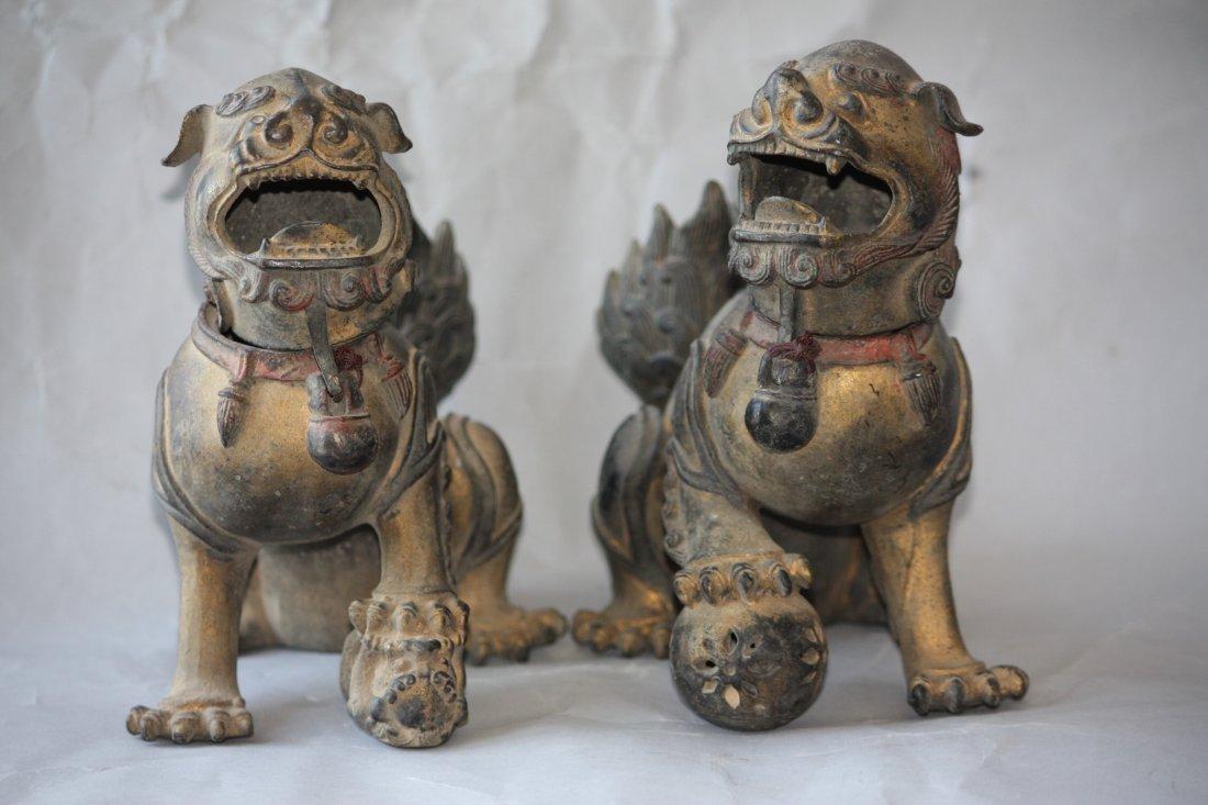 16: Pair of Bronze Foo Lions