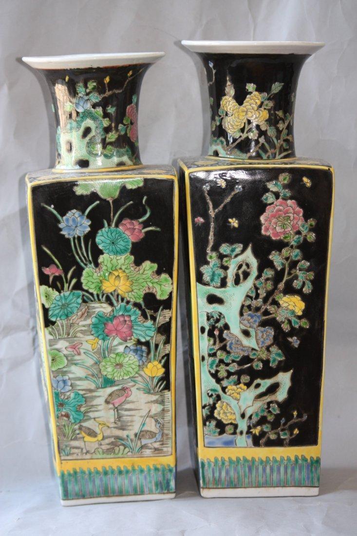17: Chinese Pair of Black Ground Square Vases