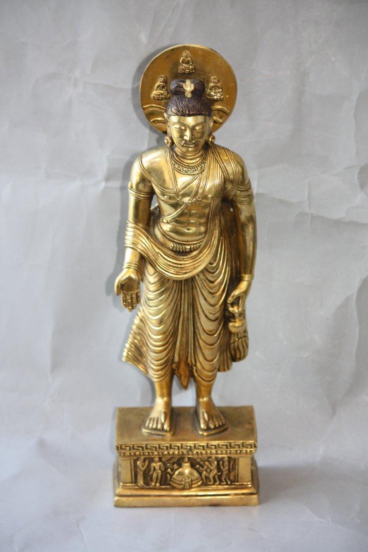 18: Bronze Sino-Tibetian Standing Buddha with Halo
