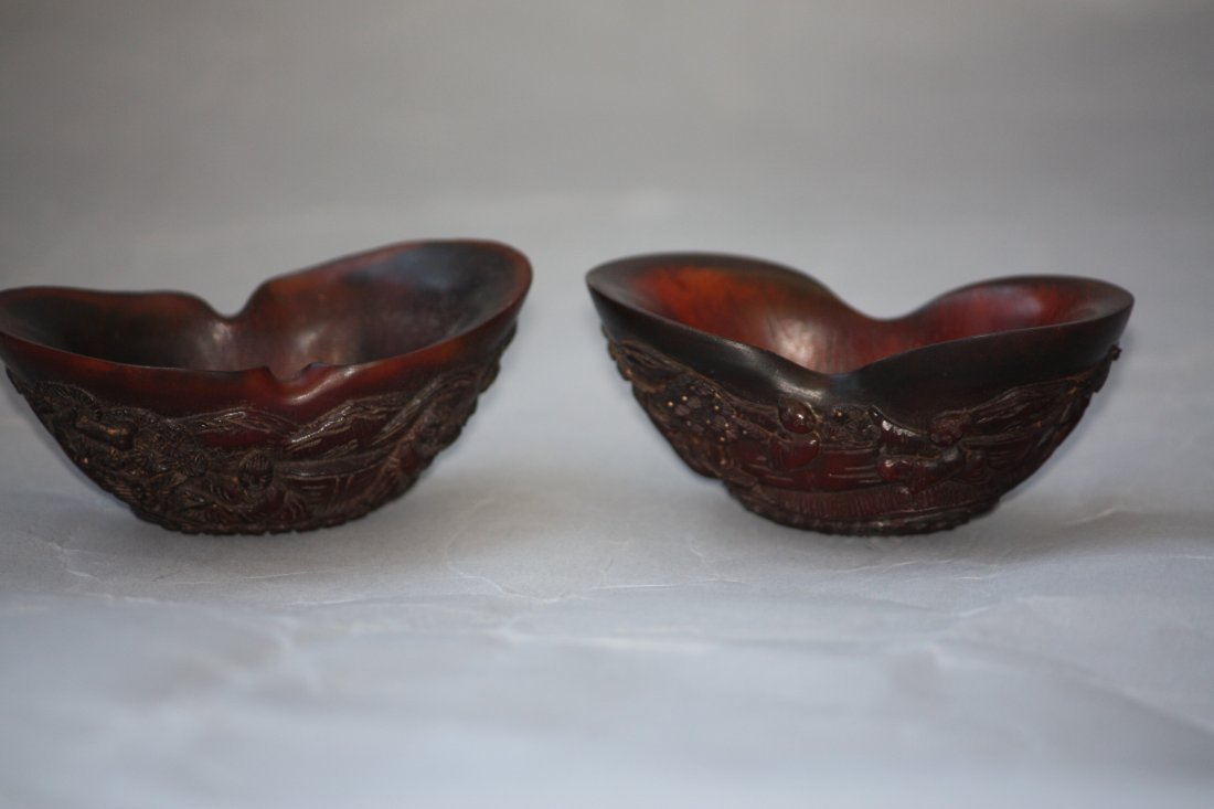 27: Two Chinese Carved Horn Cups