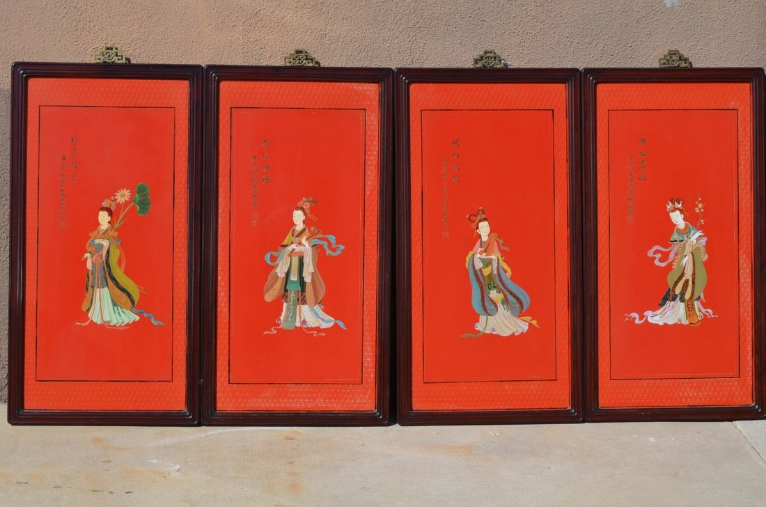 2: Four Cinnabar Painting Panels with Rosewood Frame