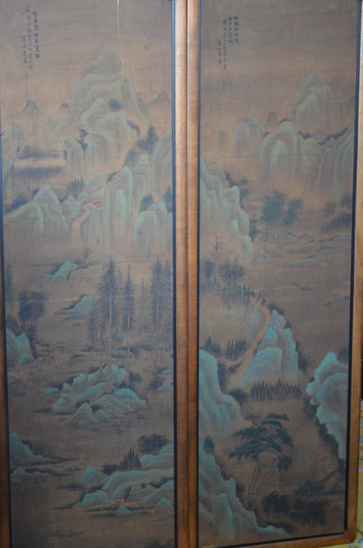 3: Two Paneled Painting inscribed Wang Ding