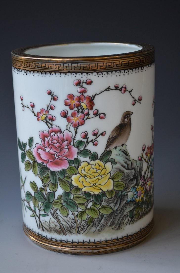 7: Chinese Famille Rose Brush Pot