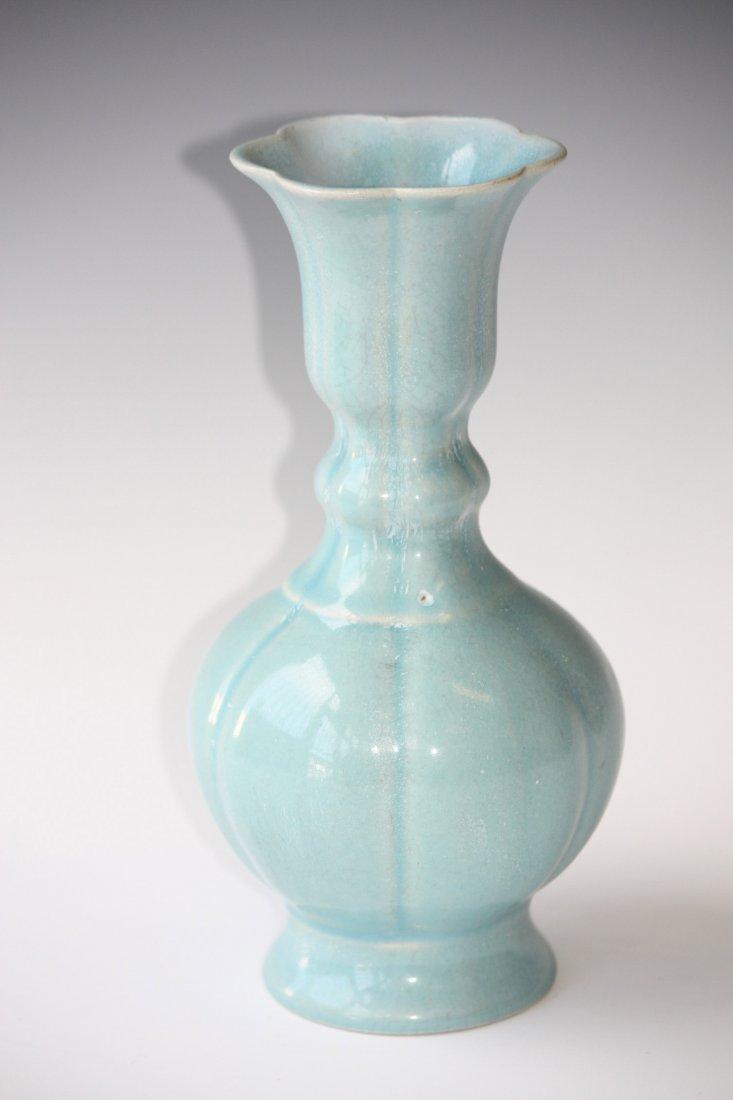 13: Antique Chinese Blue Glazed Porcelain Vase