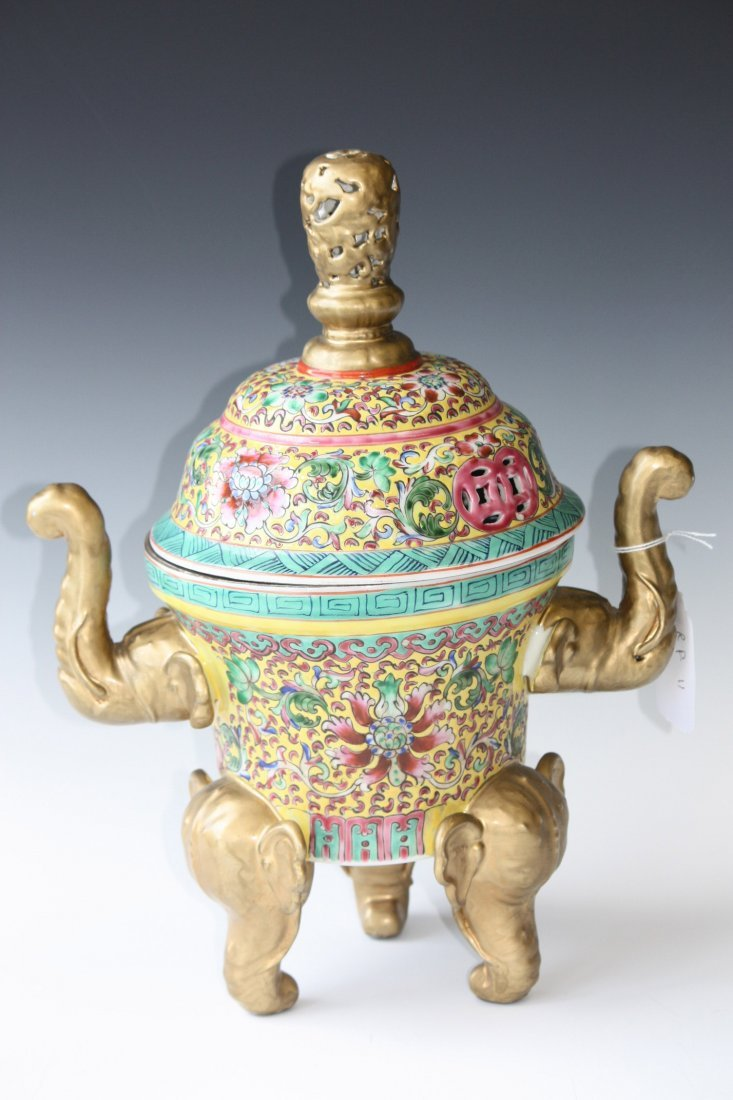 15: Chinese Famille Rose Covered Tripod Lidded Dish