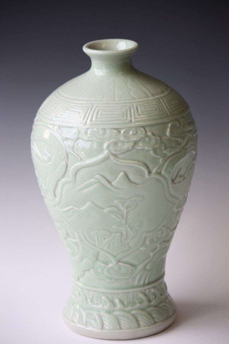 17: Chinese Celedon Glaze Porcelain Dragon Meiping