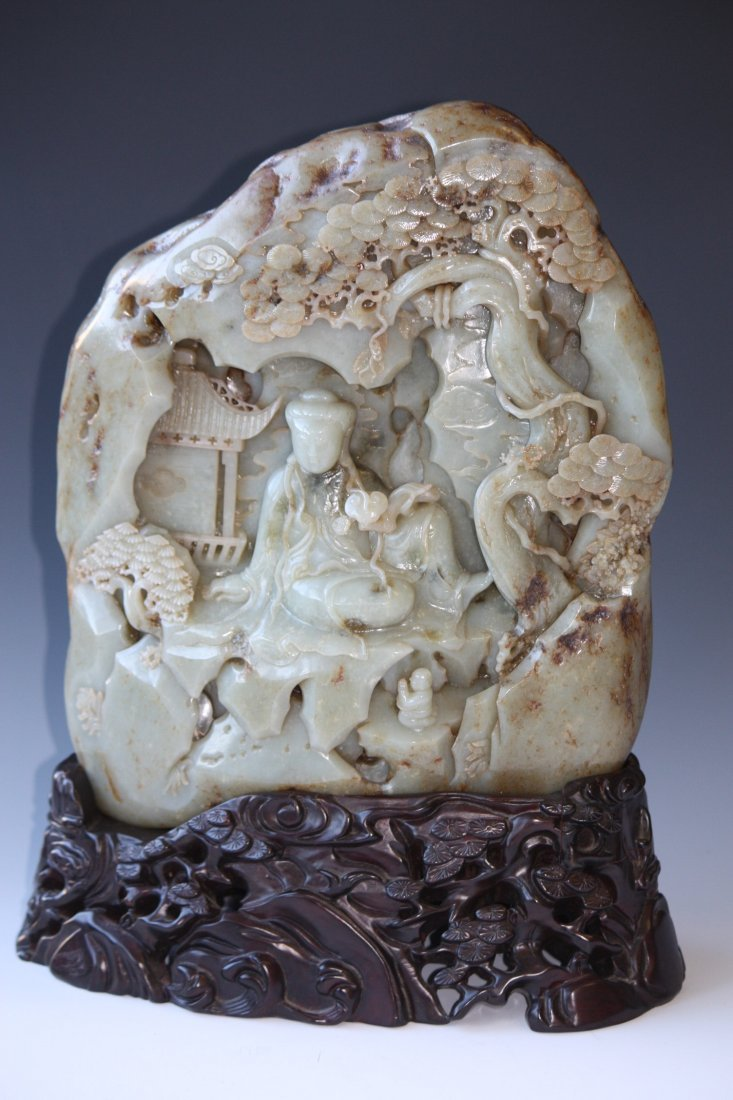 186: Carved Jade Mountain Boulder Seated Quan Yin