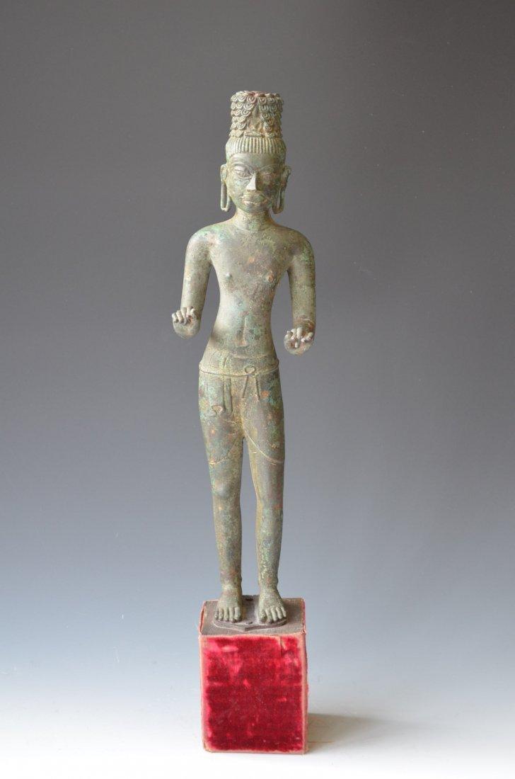 326: Antique Cambodian Bronze Statue 13/14th Century