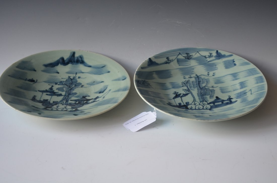 7: Two Blue & White Chinese Plates Probably 18/19th.C