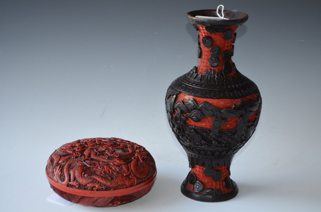 11: Two Various Cinnabar Dishes; Vase & Covered Dish