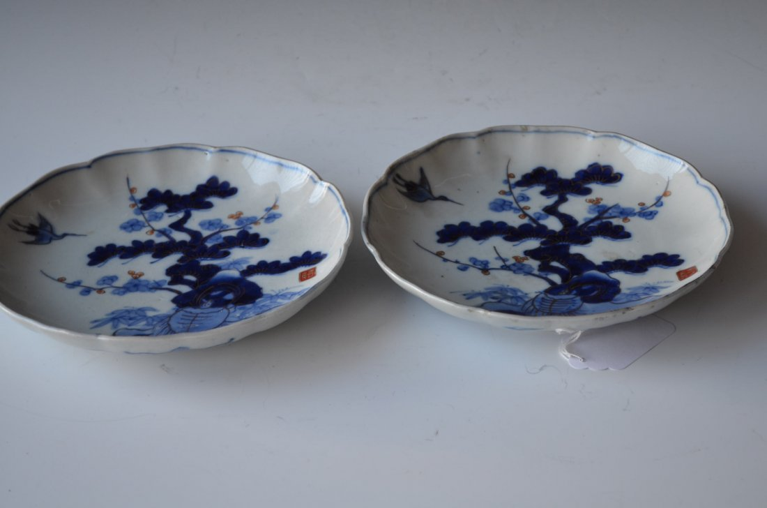 15: Pair of Japanese Blue & White Dishes