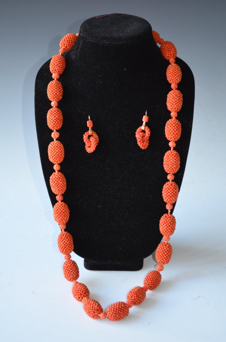 Vintage Coral Bead Necklace & Designer Made Earrings