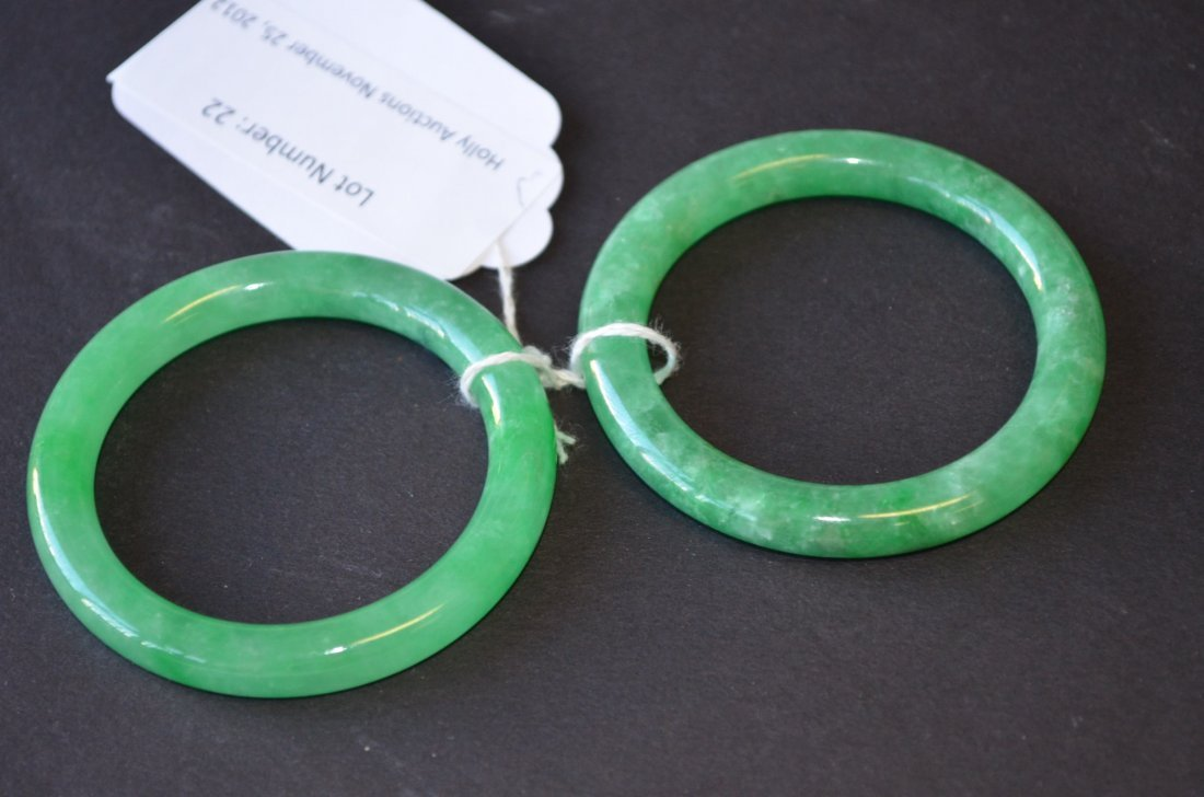22: Two Apple Green Jadeite Bangles
