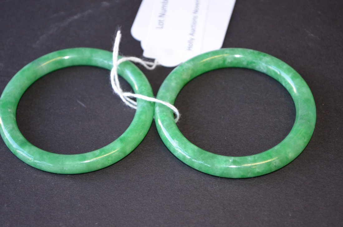 24: Two Apple Green Jadeite Bangles